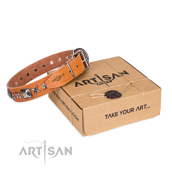 Handy use genuine leather dog collar with decorations