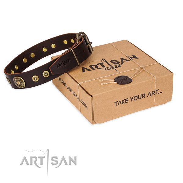 Genuine leather dog collar made of reliable material with rust resistant buckle