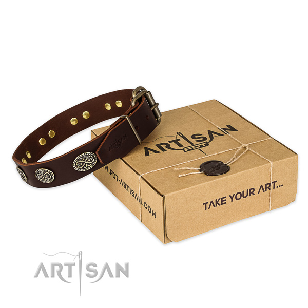 Strong fittings on natural genuine leather collar for your lovely pet
