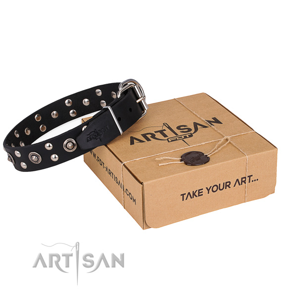Easy wearing dog collar with Exquisite corrosion resistant studs