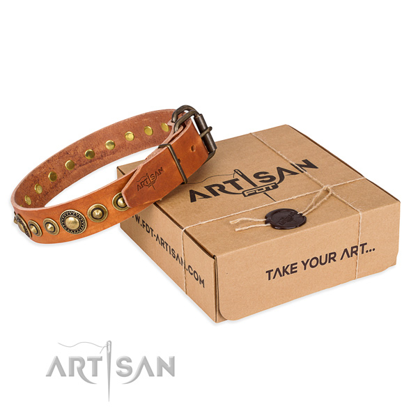Soft full grain genuine leather dog collar crafted for comfy wearing