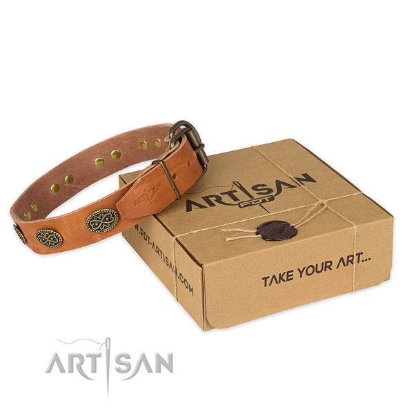 Rust resistant fittings on natural genuine leather collar for your handsome pet