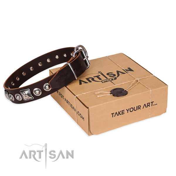 Genuine leather dog collar made of flexible material with corrosion proof traditional buckle