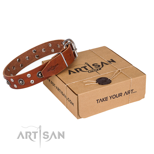 Rust resistant fittings on genuine leather collar for your beautiful canine