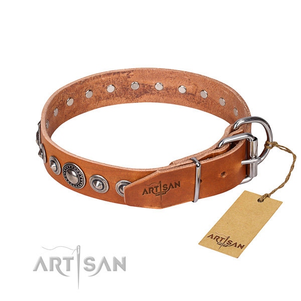 Full grain natural leather dog collar made of reliable material with corrosion resistant adornments