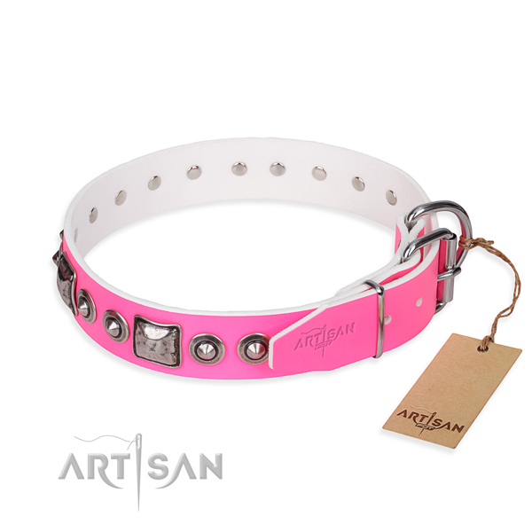 Soft genuine leather dog collar handmade for everyday use