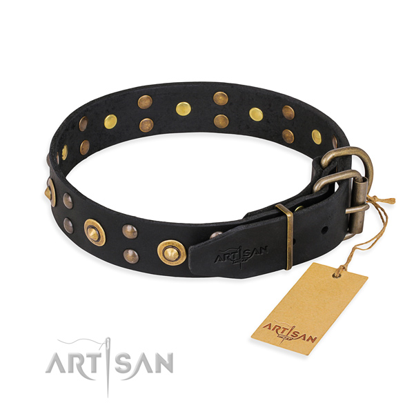 Durable fittings on leather collar for your handsome four-legged friend