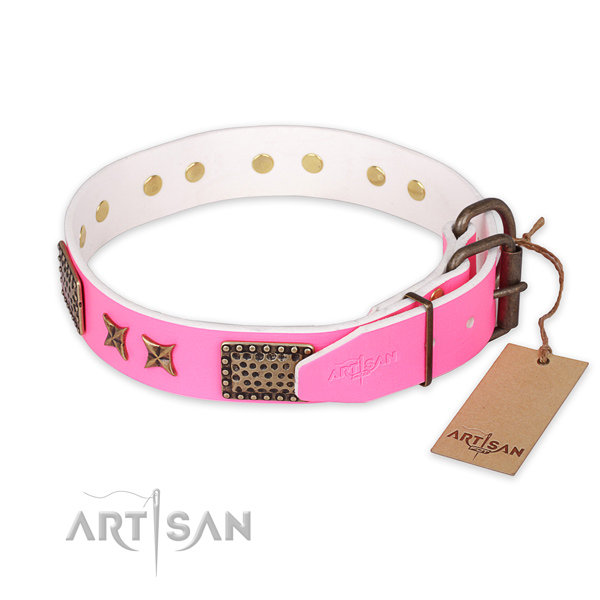 Durable fittings on full grain leather collar for your stylish four-legged friend