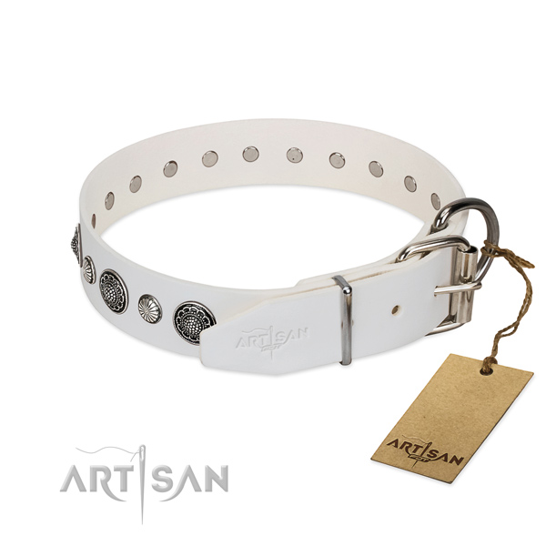 Top rate Full grain natural leather dog collar with corrosion resistant hardware