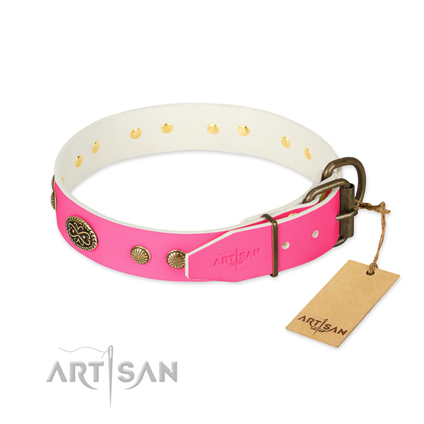 Durable hardware on leather dog collar for your doggie