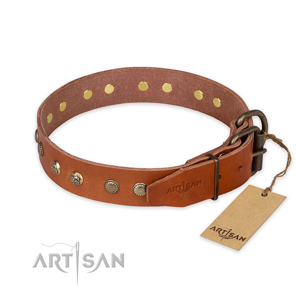 Rust-proof traditional buckle on leather collar for your attractive doggie