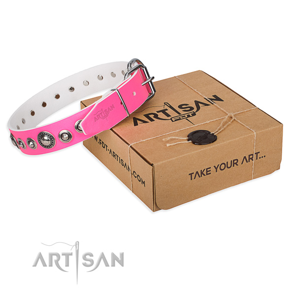 Full grain genuine leather dog collar made of gentle to touch material with reliable hardware