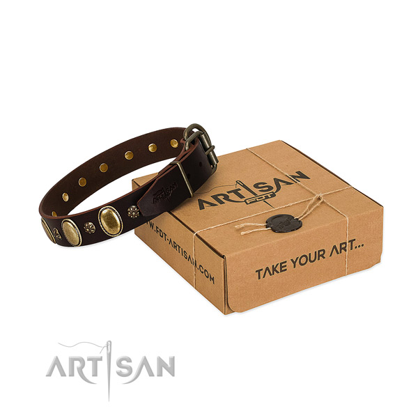 Handy use soft natural genuine leather dog collar with adornments