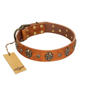 """Rockstar"" FDT Artisan Tan Leather American Bulldog Collar with Engraved Studs and Medallions"