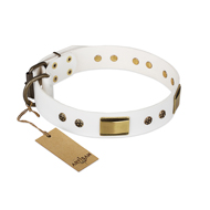 """Precious Necklace"" FDT Artisan White Leather American Bulldog Collar with Old Bronze Look Plates and Studs"