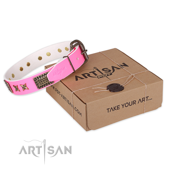 Reliable fittings on natural genuine leather collar for your stylish canine