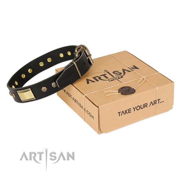 Easy to adjust full grain genuine leather collar for your handsome doggie