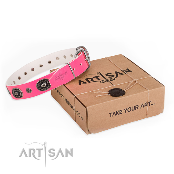 Soft to touch full grain natural leather dog collar made for comfortable wearing