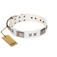 """Bling-Bling"" FDT Artisan White Leather American Bulldog Collar with Sparkling Stars and Plates"