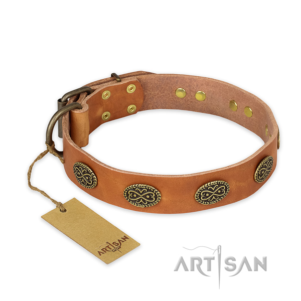 Fine quality genuine leather dog collar with rust resistant hardware