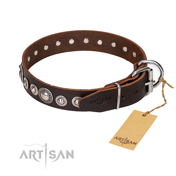 Leather dog collar made of soft to touch material with corrosion resistant fittings