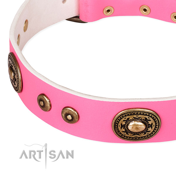 Leather dog collar made of soft to touch material with embellishments