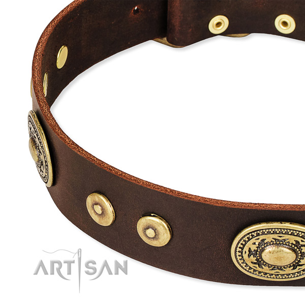 Decorated dog collar made of quality full grain genuine leather