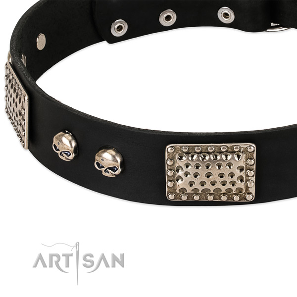 Reliable decorations on genuine leather dog collar for your canine