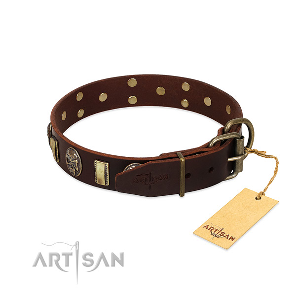 Leather dog collar with reliable D-ring and adornments