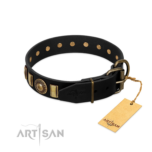 Soft to touch natural leather dog collar with adornments