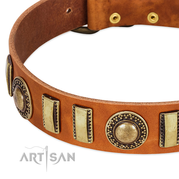 Soft genuine leather dog collar with corrosion resistant traditional buckle