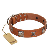 """Amorous Escapade"" Embellished FDT Artisan Tan Leather American Bulldog Collar with Chrome Plated Crossbones and Plates"