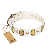 """Pearly Grace"" FDT Artisan White Leather American Bulldog Collar with Engraved Ovals and Small Dotted Studs"