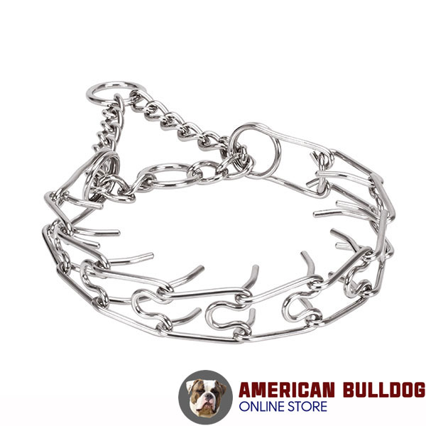 Rust proof dog pinch collar with stainless steel removable prongs