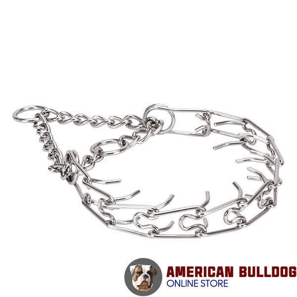 Rust proof stainless steel prong collar for ill behaved pets