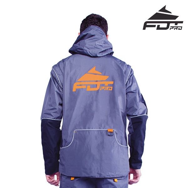 FDT Pro Dog Training Jacket of Grey Color with Comfortable Side Pockets