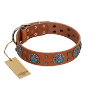 """Blue Sands"" FDT Artisan Tan Leather American Bulldog Collar with Silver-like Studs and Round Conchos with Stones"