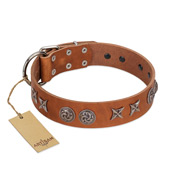 """Brave Spirit"" Handmade FDT Artisan Designer Tan Leather American Bulldog Collar with Shields"