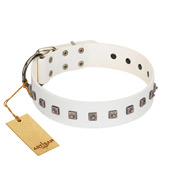 """True Grace"" Premium Quality FDT Artisan White Designer Leather American Bulldog Collar"