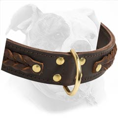 Adapted for American Bulldog breed leather collar