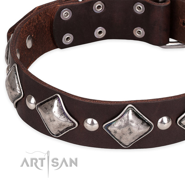 Adjustable leather dog collar with extra strong non-rusting buckle and D-ring