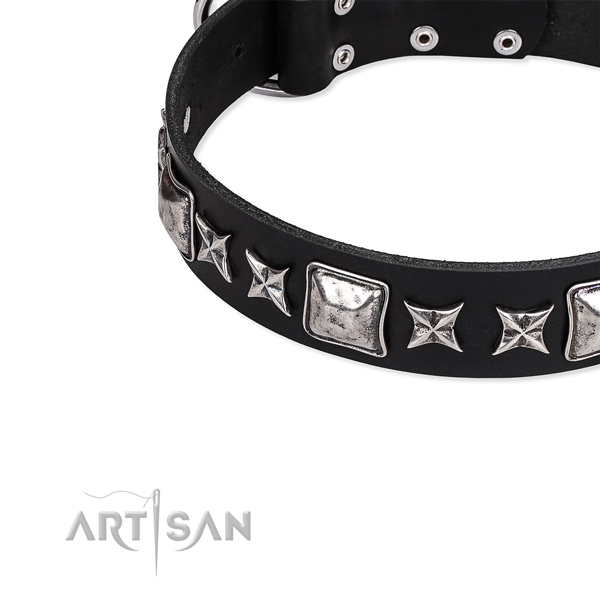 Genuine leather dog collar with studs for comfortable wearing