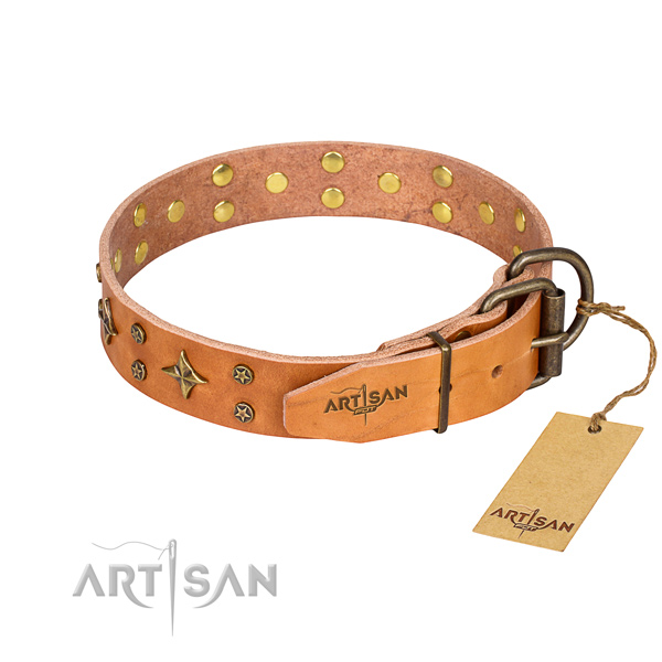 Handy use natural genuine leather collar with studs for your doggie