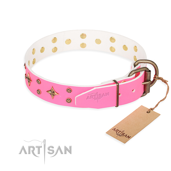 Daily walking full grain genuine leather collar with studs for your canine