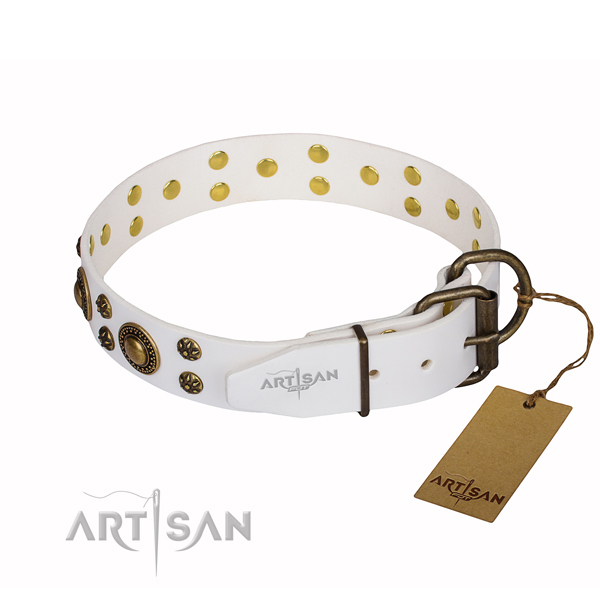 Unusual natural genuine leather dog collar for handy use
