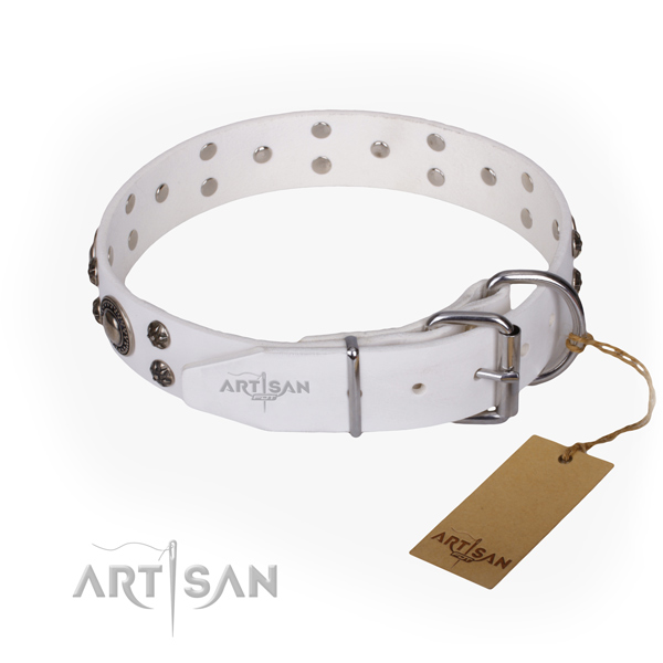 Daily use full grain genuine leather collar with adornments for your canine