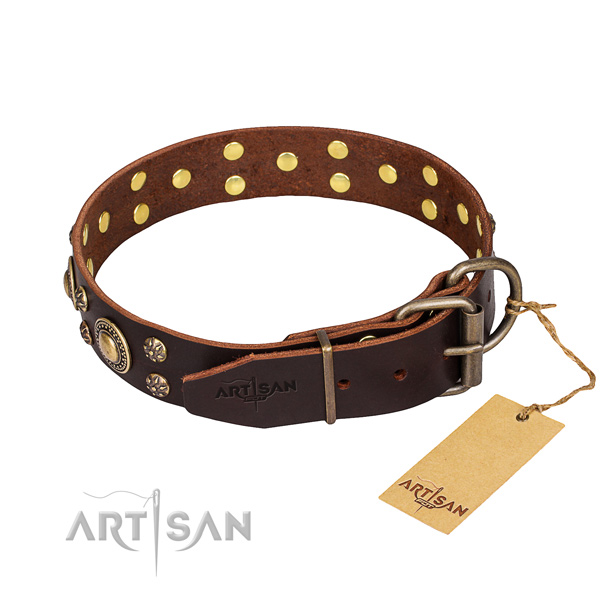Walking natural genuine leather collar with embellishments for your pet