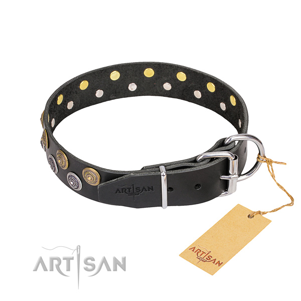 Handy use genuine leather collar with embellishments for your dog