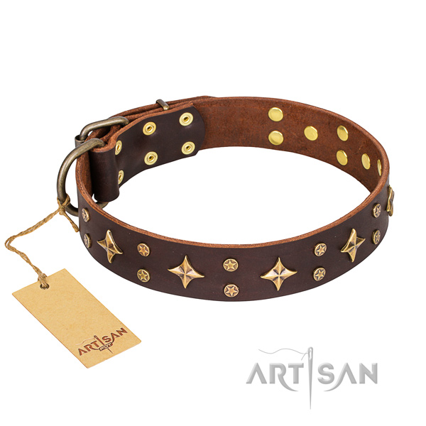 Incredible genuine leather dog collar for handy use