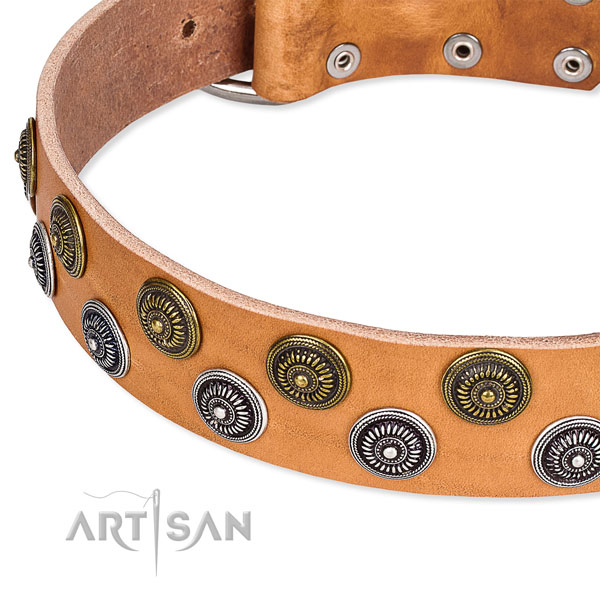 Genuine leather dog collar with inimitable decorations